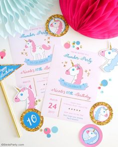 Unicorn themed birthday slumber paryy with lots of creative DIY ideas, party printables, unicorn cake and food as well as pretty favors!