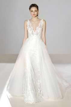 Style 3656 Lazaro bridal gown - Ivory Venice lace trumpet bridal gown with  overskirt 9e98494fa18b