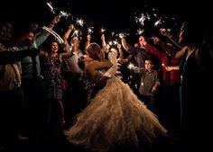 Sparklers are such a beautiful exit idea for an evening wedding! Via DIYs Wedding Ceremony Ideas, Wedding Exits, Wedding Receptions, Wedding Send Off, Fall Wedding, Dream Wedding, Luxury Wedding, Edgy Wedding, Wedding Picture Poses