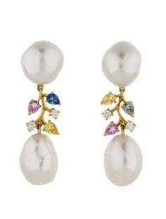 Pearl, Sapphire and Diamond Earrings