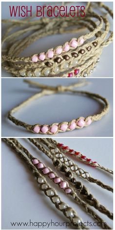 Wish Bracelets Using Hemp Twine & Seed Beads