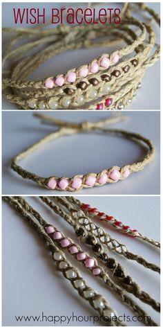 Wish Bracelets Using Hemp Twine & Seed Beads