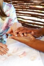 Hand treatment at Zau Spa.