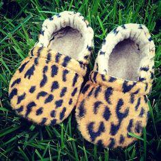 Leopard Print, Furry Baby Booties by Happy Solez
