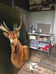 Oilpainting deer animalart studio Nanouk Weijnen