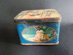 FRENCH LITTLE BOX 1900 LITHOGRAPHED SHEET METAL ROMANTIC DECOR
