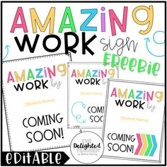 "Do you have a ""Wow Work Wall"", ""Goal Getters"" bulletin board, or another place in your classroom where you display student work? If so, get them filled up and ready for your incoming students by displaying these ""Amazing Work Coming Soon"" signs on them."