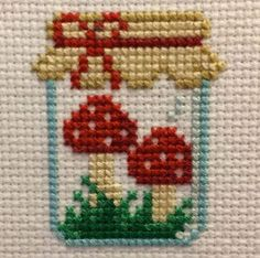 Mushroom Jar Cross Stitch Pattern by SnailFishesStitches on Etsy Small Cross Stitch, Cross Stitch Kitchen, Cross Stitch Embroidery, Embroidery Patterns, Hand Embroidery, Modern Cross Stitch Patterns, Cross Stitch Designs, Pixel Art, Needlepoint