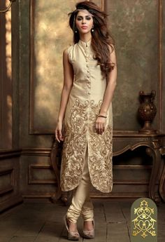 Cream Silk Georgette Salwar Kameez 34893