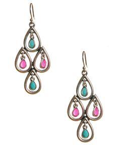 Lucky Brand Earrings, Teardrop Chandelier Earrings - Fashion Jewelry - Jewelry & Watches - Macy's