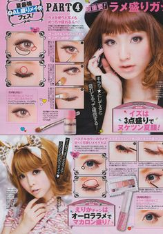 Kawaii Hairstyles, Cute Hairstyles, Korean Makeup Tutorials, Japanese Makeup, Makeup Step By Step, Asian Makeup, Gyaru, Cute Makeup, Summer Makeup