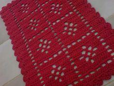 Enxoval Crochê Em Barbante - Tapete Multiuso Vermelho - R$ 19,98