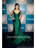Hannah Simone Dark Green Formal Dress 69th Annual Golden Globes Red Carpet - TheCelebrityDresses