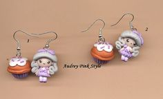 1 pair of earrings doll and cupcake lolita by AudreyPinkStyle