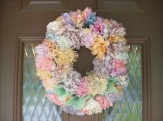 Spring Door Wreath--made with coffee filter flowers