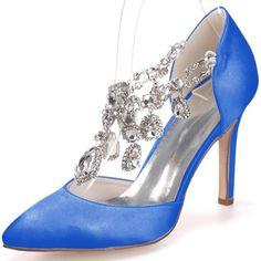 Sarahbridal Damen Hoch Absatz Abendschuhe Hochzeit Plateau Pumps mit Kristall SZXF0608-22 Blau EU41