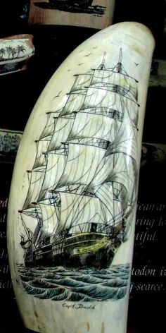 Captain Budd's Scrimshaw Art Pieces