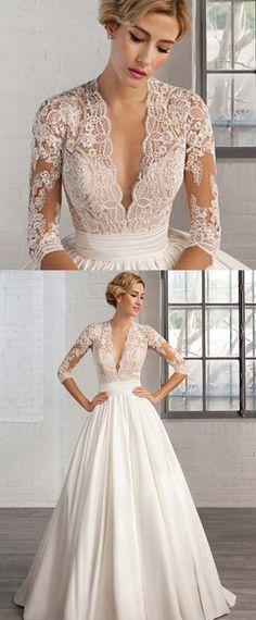Marvelous Tulle & Satin Queen Anne Neckline A-line Wedding Dresses with Lace Appliques