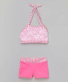 Look at this #zulilyfind! Hot Pink Candy Stripe Crop Top & Shorts - Girls by Elliewear #zulilyfinds