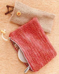 knit pouches tutorial via martha stewart.