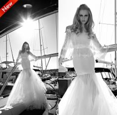 2014 New Autumn Wedding Dresses Trumpet Zipper Appliques Organza Sexy Wedding dress High quality Famous Designer Free shipping