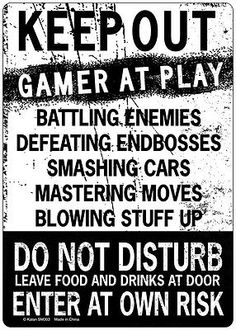 KEEP OUT Gamer At Play ENTER At Own Risk Novelty Tin Sign- FUNNY SIGN - BUY NOW ONLY 9.99