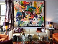 Bold and vibrant - Lana Gomez painting, Jamie Drake interior design Bold Living Room, Eclectic Living Room, Living Rooms, Big Wall Art, Canvas Wall Art, Eclectic Style, Large Art, Painting Inspiration, Gomez