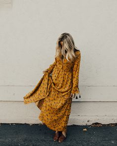Mustard Floral Print Maxi Dress Long Sleeve w/Ribbon Tie Cuff Ruffle Hem Panels Button Up Front Fully Lined V-Neck Nursing Friendly View Size Chart Model is + Wearing a Small Maxi Skirt Outfits, Boho Outfits, Fall Outfits, Maxi Dresses, Roolee Boutique, Dedicated Follower Of Fashion, Floral Print Maxi Dress, Mode Inspiration, Get Dressed