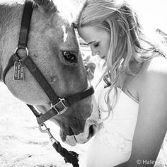 Wedding dress and a horse. Photo by Haley Danielle Photography.