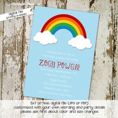 rainbow birthday invitation baby girl shower lds mormon baptism christening gender reveal gender neutral diaper couples sprinkle (item 215) by Katiedid Designs, $13.00 USD