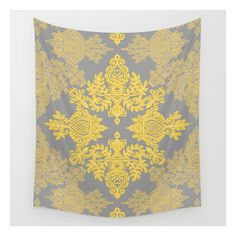 Golden Folk - Doodle Pattern In Yellow & Grey Wall Tapestry ($39) ❤ liked on Polyvore featuring home, home decor, wall art, wall tapestries, gray home decor, outside wall art, outdoor wall art, outdoor home decor and outside home decor