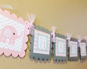 Mod Jungle Elephant Baby Shower banner - Little Mister - Orange Chevron Turquoise Card stock  - Party Packs Available. $28.00, via Etsy.