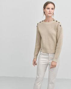 Button Rib Pullover Dove - Knitwear - Shop Woman - Filippa K