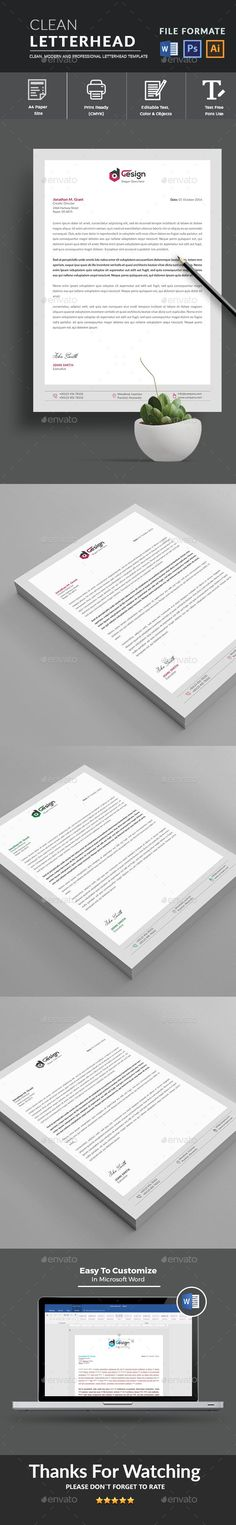 Letterhead Template with super modern and Corporate look. Corporate Letterhead page designs are very easy to use and customize, so you can quickly tailor-make your letterhead for any opportunity. Use this letterhead template for company or corpate use. Letterhead Design, Letterhead Template, Best Resume Template, Cv Template, Print Templates, Resume Design, Stationery Printing, Stationery Templates, Best Cv