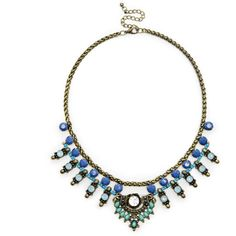 Sole Society Tribal Statement Necklace (€19) ❤ liked on Polyvore featuring jewelry, necklaces, blue combo, tribal necklace, bib statement necklace, blue jewelry, chain statement necklace and adjustable necklace