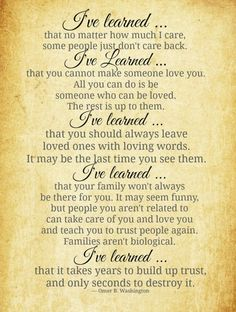 I've Learned. . .