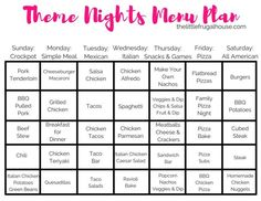 Nights Meal Planning - Make Meal Planning Easier - The Little Frugal HouseTheme Nights Meal Planning - Make Meal Planning Easier - The Little Frugal House Monthly and Weekly Meal Plan w/ Grocery Lists and Recipes Monthly Meal Planning, Family Meal Planning, Budget Meal Planning, Family Meals, Budget Planner, Monthly Menu, Meal Plan For Family, Meal Planning Recipes, Healthy Meal Planning
