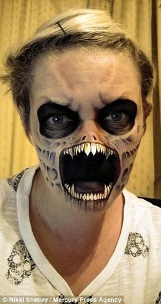 Gore blimey! Mother-of-three uses face paint to transform herself into creepy characters for scary selfies | Daily Mail Online