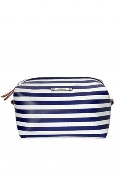 Stella & Dot Pouf - Navy Stripe.  Great for phone charger, camera charger, Kindle charger for trips