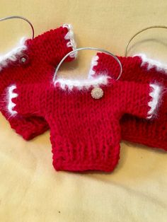 Hand Knit Red Sweater Christmas Ornament Vintage by JoiedeWeave