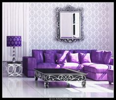 Purple Sofa With Silver Accents