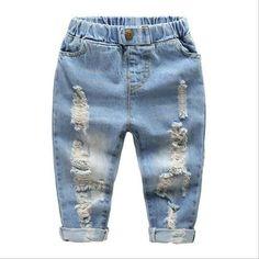 Denim Distressed Blue Jeans with Elastic Waist