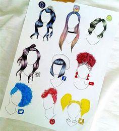 Which Social Media Hairstyle is Best? App Drawings, Disney Drawings, Drawing Sketches, Fashion Design Drawings, Fashion Sketches, Amazing Drawings, Cute Drawings, Bild Girls, Social Media Art