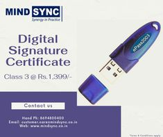 Complete Paperless Online procedure to get your Class 3 Digital Signature Certificate @ just Rs.1,399/-. Delivered to you within 2 hours. Contact us today: customer.care@mindsync.co.in | 8694800400 www.mindsync.co.in #mindsyncindia #digitalsignature #dsc #digitalsignaturecertificate #class3 #mca #gst #incometax #dgft #foreigndsc #business #digital #certifyingauthority #startup #compliance Digital Signature, Certificate, Conditioner, Mindfulness, How To Apply, Business, Store, Business Illustration, Consciousness