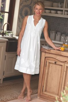 Spend luxurious days and nights in our Giselle Gown - feminine glamour in summer perfect cotton.