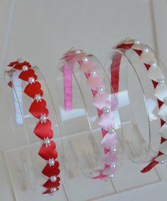 Handmade headbands, hair bows, and hair clips. Chain Headband, Red Headband, Pink Headbands, Toddler Headbands, Handmade Headbands, Headbands For Women, Fabric Ribbon, Fabric Flowers, Organza Ribbon