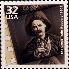 """The stamp was part of the Celebrate the Century series and features an iconic scene from the movie """"The Great Train Robbery"""" (1903). The actor is Central New York native Justus P. Barnes (1862-1946). He was born in Little Falls and died in Weedsport. This was his film debut and he appeared in about 70 films until he retired from show business in 1917."""
