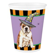 Halloween Bulldog Paper Cup - halloween decor diy cyo personalize unique party