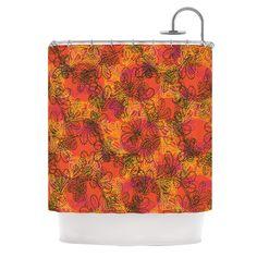 """Patternmuse """"Jaipur Orange"""" Red Orange Shower Curtain"""