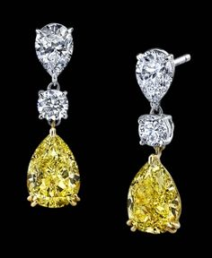 Natural Fancy Yellow Pear shaped diamonds jewelry ~ beautiful... paradise
